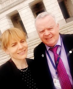 Keeley with John Dallat MLA of the SDLP, Stormont Castle, Belfast, 26.3.18