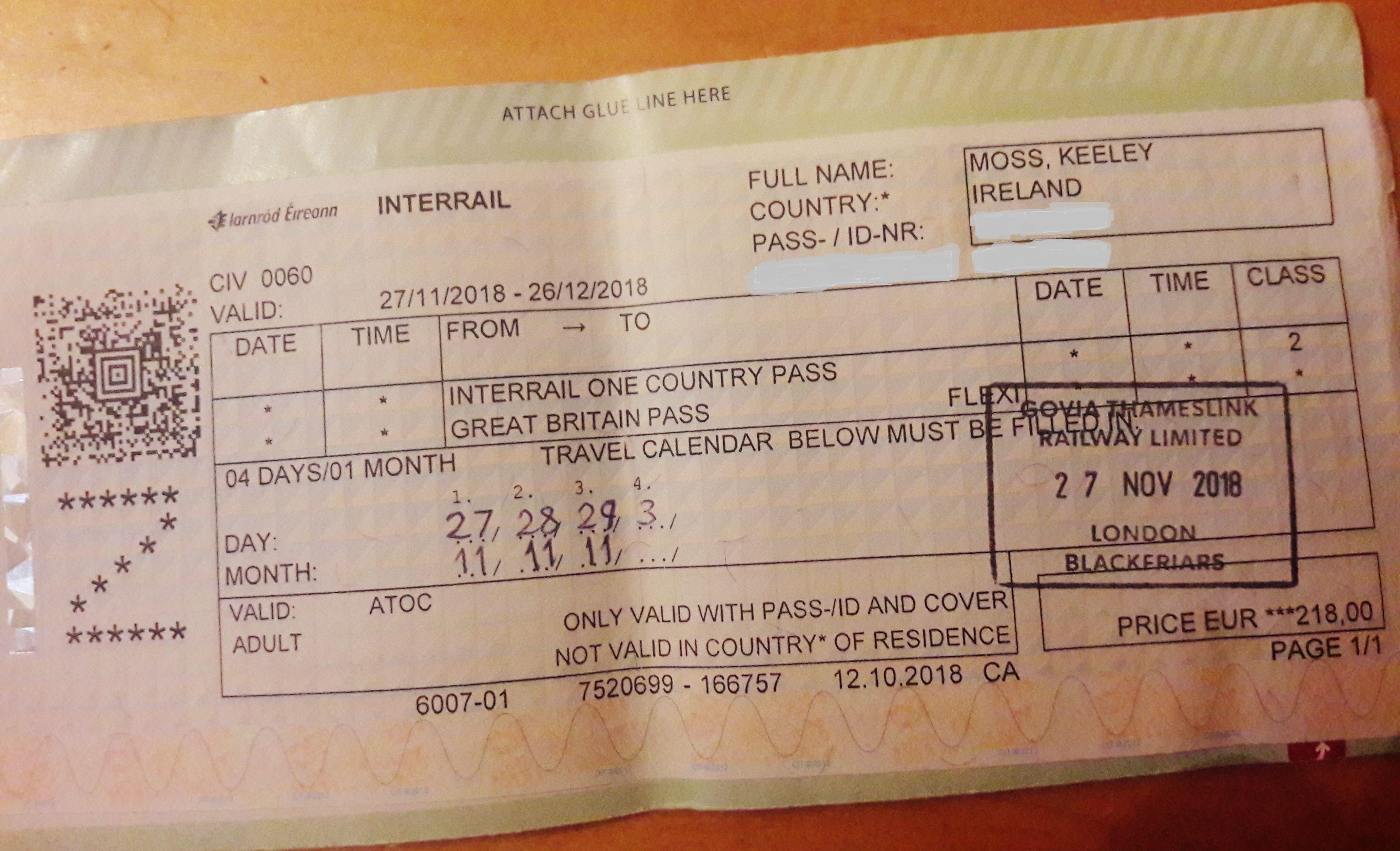 Keeley Interrail ticket